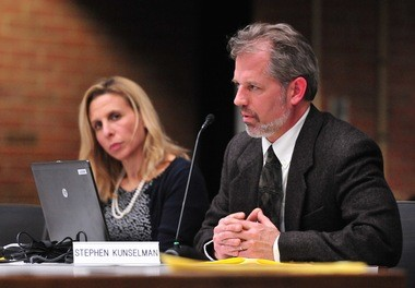 Ann Arbor City Council Member Stephen Kunselman, D-3rd Ward, speaks on the issue of homeless camps at a recent council meeting.