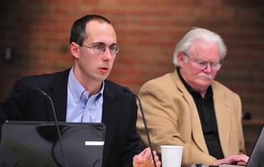 Ann Arbor City Council Member Chuck Warpehoski, D-5th Ward, speaks at Tuesday night's meeting.