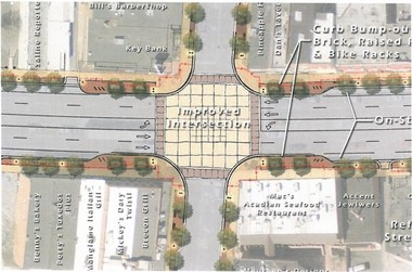 A rendering of improvements to the Ann Arbor Street-Michigan Avenue intersection in Downtown Saline.
