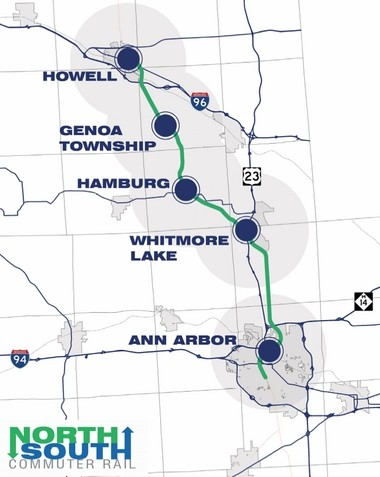 A map of the proposed north-south commuter rail service between Ann Arbor and Howell with other stops along the way.
