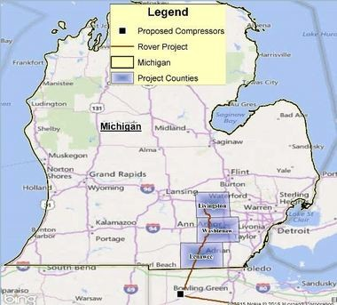 A map shows the proposed route of Rover Pipeline through Michigan counties.