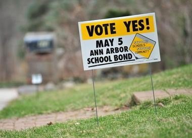 A sign supports the Ann Arbor Public Schools bond proposal in May.