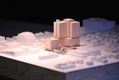 A scale model of the CA Ventures proposal for the Library Lot on display at a meeting at the downtown Ann Arbor library on Oct. 22, 2015.