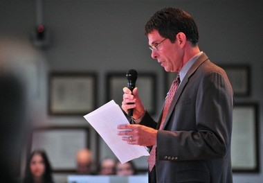 Ann Arbor City Administrator Steve Powers speaks during the Library Lot meeting at the downtown library on Oct. 22, 2015.