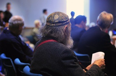 Ann Arbor resident Alan Haber listens during the Library Lot meeting at the downtown library on Oct. 22, 2015.