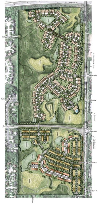 The site plan for the North Oaks (formerly known as Nixon Farms) development on Nixon Road in Ann Arbor.