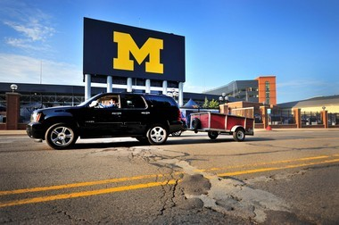 Stadium Boulevard in front of Michigan Stadium as it looked at sunset on Friday, Aug. 29, 2014. (Ryan Stanton | The Ann Arbor News)