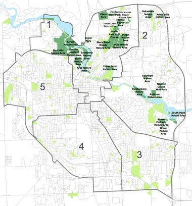 Parks and nature areas in Ann Arbor that will close daily from 4 p.m. to 7 a.m. from Jan. 1 through March 31 while the city carries out a deer cull.