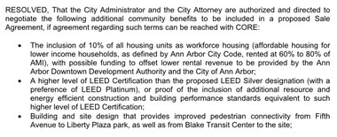 Ann Arbor City Council Member Sabra Briere, D-1st Ward, had this amendment added to the City Council's resolution to enter negotiations to sell the Library Lot to Core Spaces.