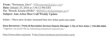 "One of the deer cull ""weekly update"" reports from Ann Arbor's city staff to the Michigan Department of Natural Resources. This is the full report."