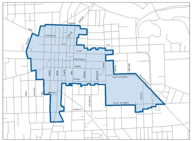 Ann Arbor Downtown Development Authority tax-increment financing district boundaries.