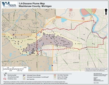 Washtenaw County Public Health sent this map of the Gelman dioxane plume to local residents in March 2016. The many dots shown in Scio Township represent private wells for homes and businesses at risk of being poisoned as the toxic groundwater plume spreads.