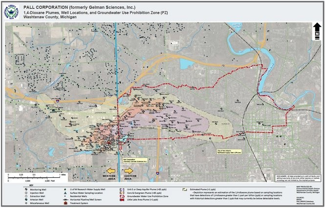 A dioxane plume map created by Washtenaw County and last updated in February 2016. The Unit E plume is shown in pink on this map.