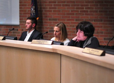 Council Member Jane Lumm, right, listens during the Ann Arbor City Council meeting on April 4, 2016.