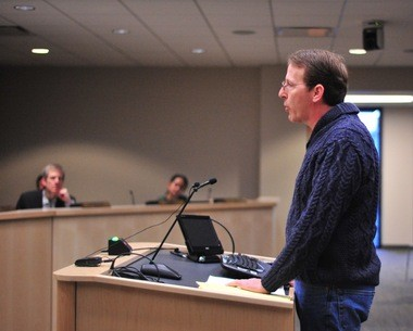 David Silkworth, a 5th Ward resident considering a run for City Council this year, speaks out at the Ann Arbor City Council meeting on April 4, 2016.