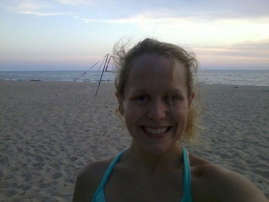 Jessica Grubb at the beach on Lake Michigan in Holland.