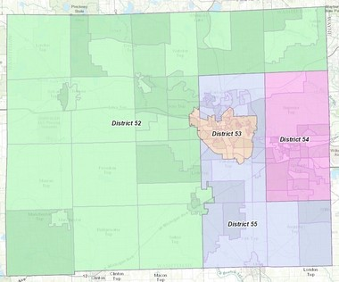 District boundaries for Michigan House of Representatives seats in Washtenaw County.