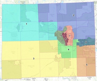 District boundaries for county board seats in Washtenaw County.