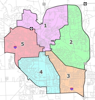 Ward boundaries for Ann Arbor City Council seats.