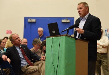 Bob Wagner, the Michigan DEQ's Remediation and Redevelopment Division chief, speaks during a town hall meeting on the Gelman dioxane plume in Ann Arbor on April 18, 2016. Seated in the front row is Keith Creagh, acting DEQ director.