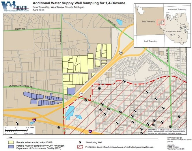 A map showing the Rose Drive area where residential wells were tested for dioxane this past month.