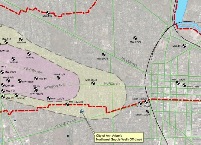 A map of the Gelman plume produced by the county showing where the plume is believed to be advancing in Ann Arbor and the spacing of monitoring wells.