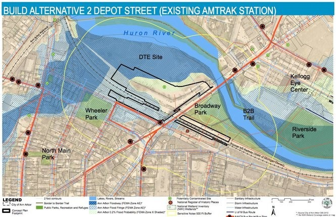 The Depot Street alternative, as shown in a previous Ann Arbor Station project report.