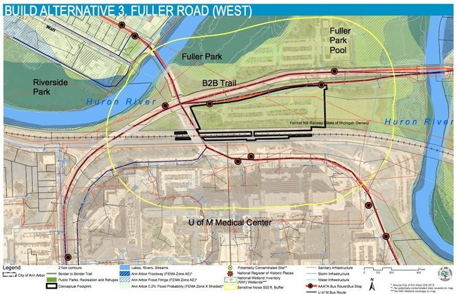 The Fuller Park alternative, as shown in a previous Ann Arbor Station project report.