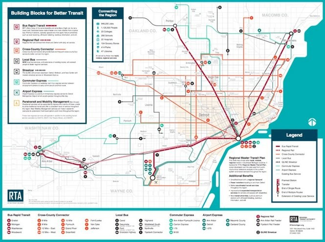 A map of regional transit services proposed by the Southeast Michigan Regional Transit Authority.
