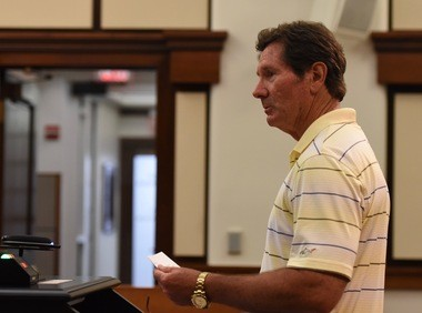 Dan Bicknell, a former EPA Superfund enforcement officer, speaks in favor of Superfund listing for the Gelman plume at a Washtenaw County Board of Commissioners meeting on June 1, 2016.