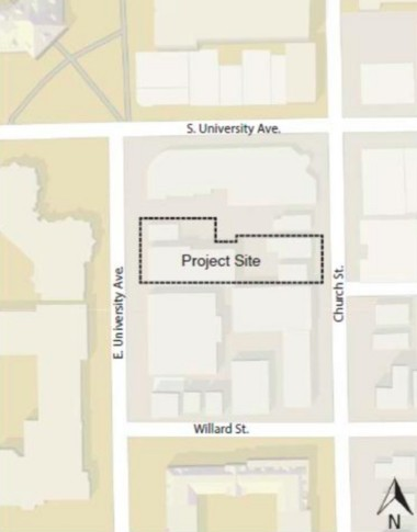 A map showing the location of a 13-story high-rise approved for development at 611 E. University Ave. in Ann Arbor.