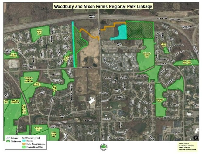 A map showing existing parks in the vicinity of the Nixon Road corridor in northeast Ann Arbor, and new parkland dedications planned as part of new developments along Nixon Road.