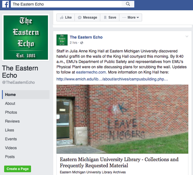 "This screenshot of the Eastern Echo's Facebook page displays ""KKK"" and a racial slur, which was removed from King Hall on Tuesday, Sept. 20."