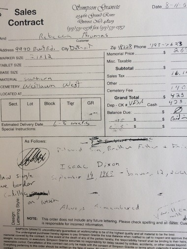 """The receipt for a sales contract from Simpson Granite for Isaac Dixon's headstone shows Rebecca Thomas paid $425.14. The contract lists """"Westlawn West"""" as the cemetery and indicates the headstone was to be delivered 6-8 weeks after the sale on August 11, 2001. It seems to never have been delivered."""