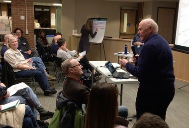 Ann Arbor resident Ray Detter speaks at a meeting at city hall on Feb. 16, 2017, recalling there have been plans for the Allen Creek Greenway for decades. He said it used to be a question of if it was going to happen, and now it's looking more like when.