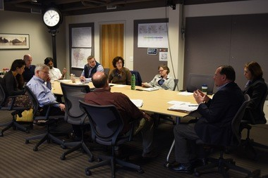 Tom Harrington Jr., director of acquisitions for Core Spaces, addresses members of the Ann Arbor Downtown Development Authority's Operations Committee on Feb. 22, 2017.