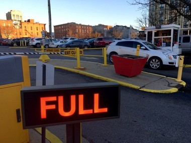A downtown Ann Arbor public parking lot known as the Brown Block, between Ashley and First streets and Huron and Washington streets, is full on March 8, 2017.