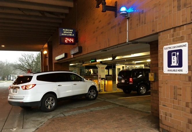 A total of 244 parking spaces were available in the Ann/Ashley public parking garage in downtown Ann Arbor mid-morning on Friday, March 31, 2017.