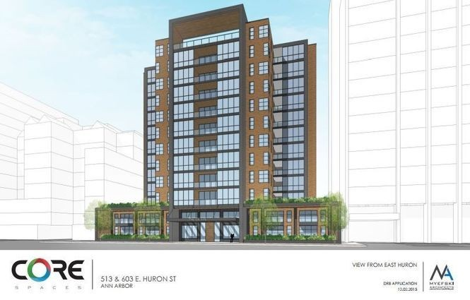 A rendering by Myefski Architects of a 12-story apartment high-rise now under construction on Huron Street in downtown Ann Arbor between Sloan Plaza condos and The Graduate hotel.