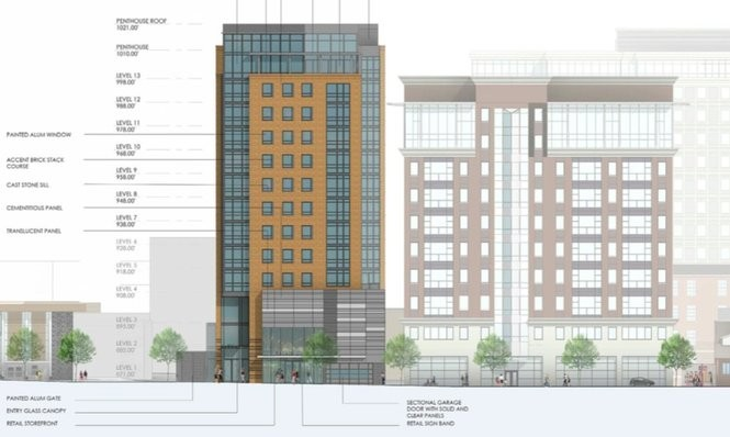A rendering showing the west side of a 13-story high-rise now under construction at 611 E. University Ave. in Ann Arbor.