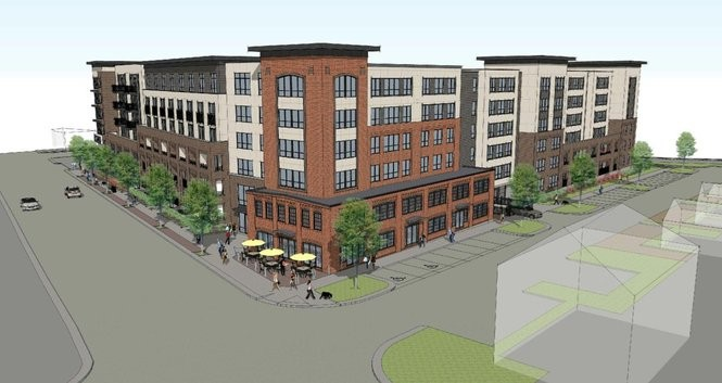 A rendering of a six-story apartment building now under construction at 615 S. Main St. in Ann Arbor.