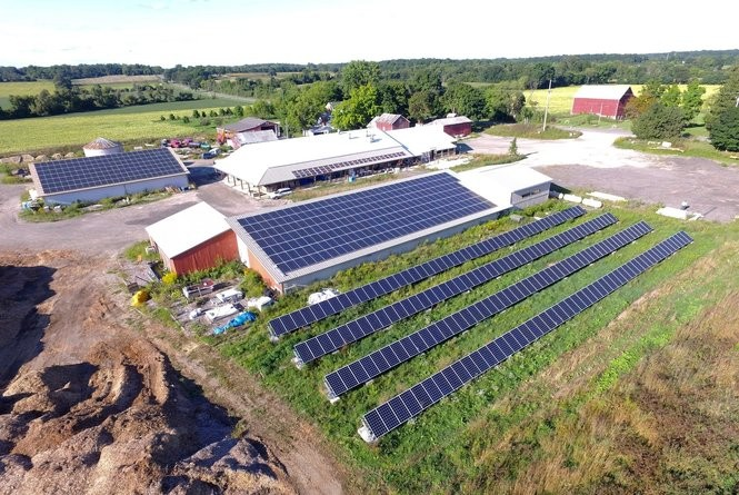 Solar panels installed at the Washtenaw Food Hub on Whitmore Lake Road in Ann Arbor Township, just north of the city of Ann Arbor.