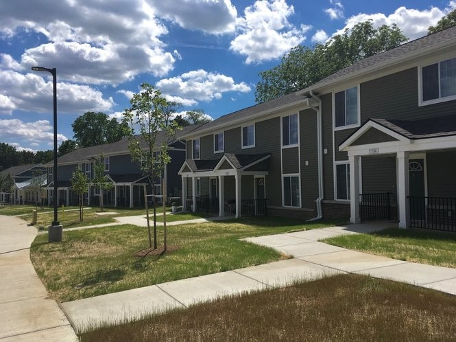 A row of new apartment buildings at the West Arbor complex on North Maple Road in Ann Arbor on June 8, 2017.
