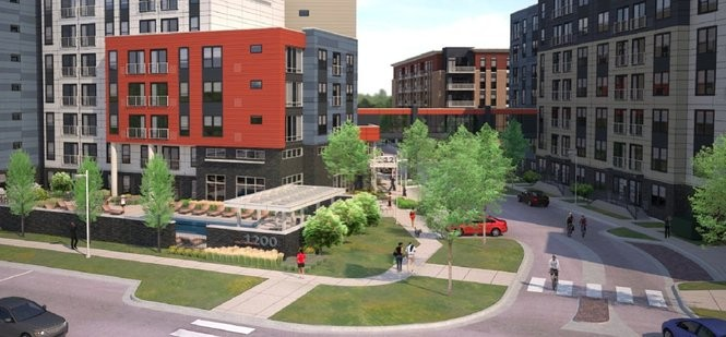 A rendering submitted to the city of Ann Arbor in May 2017 showing plans for the property at 1140 Broadway St., where Morningside Lower Town LLC wants to build three mid-rise buildings with 530 apartments, 70 for-sale condos and 4,400 square feet of retail space.