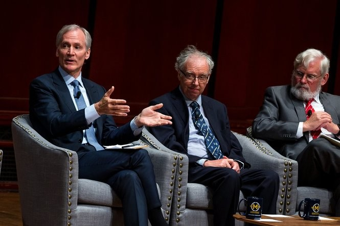 Marc Tessier-Lavigne, President of Stanford University, left, speaks during the President's Bicentennial Colloquium at Hill Auditorium on Monday, June 26, 2017. Matt Weigand | The Ann Arbor News
