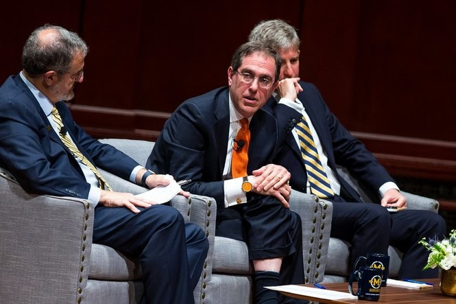 Christopher Eisgruber, President of Princeton University, center, speaks during the President's Bicentennial Colloquium at Hill Auditorium on Monday, June 26, 2017. Matt Weigand | The Ann Arbor News