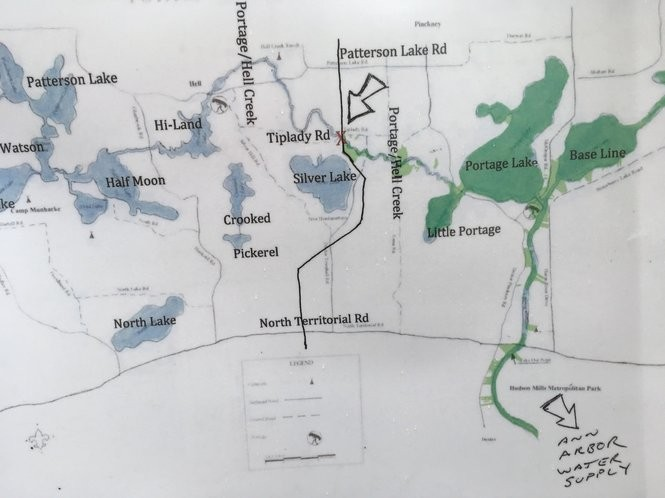 A map of the Rover pipeline one of the residents opposed to the project brought to the Washtenaw County Board of Commissioners meeting on June 28, 2017.
