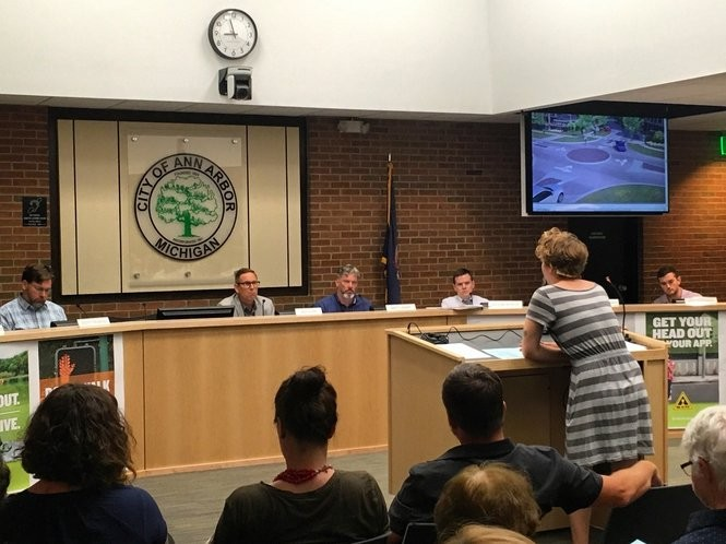 A public hearing on the proposed redevelopment of 1140 Broadway St. lasted more than two hours at the Ann Arbor Planning Commission meeting on July 5, 2017.