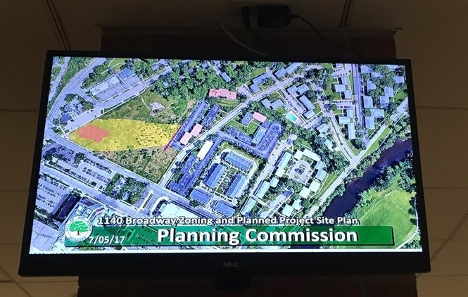 A map showing a spreading plume of pollution off Broadway Street shown on a TV screen at the Ann Arbor Planning Commission meeting on July 5, 2017. The map does not show the extent of the plume's spread off the 1140 Broadway St. property, just where it's at on the development site.