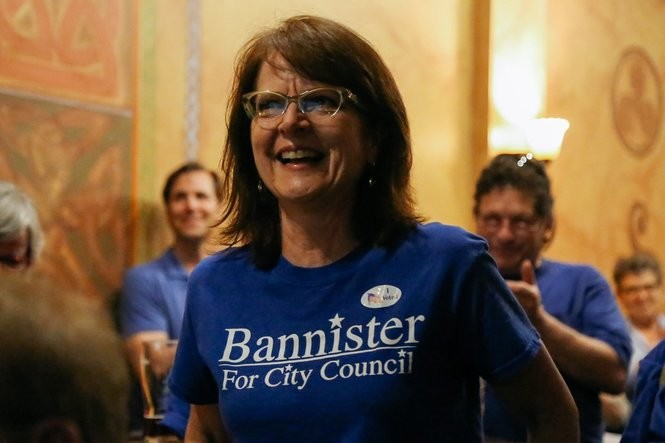 Candidate Anne Bannister at an election party at Conor O'Neill's in Ann Arbor on Tuesday, Aug. 8, 2017.
